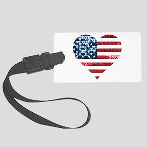 usa flag heart Large Luggage Tag