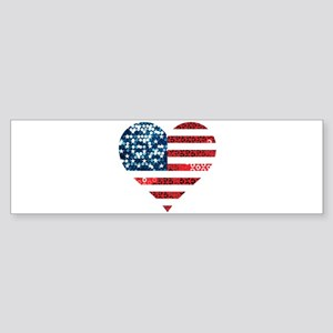 usa flag heart Bumper Sticker