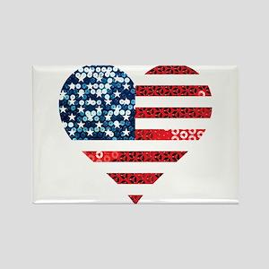 usa flag heart Magnets