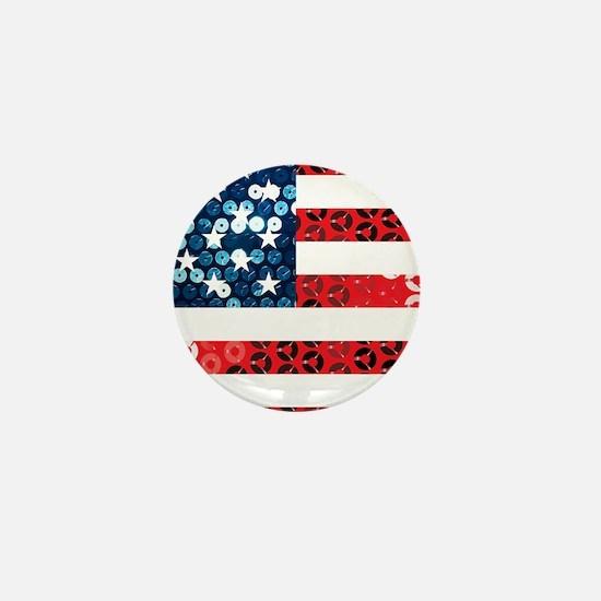 usa flag heart Mini Button (10 pack)