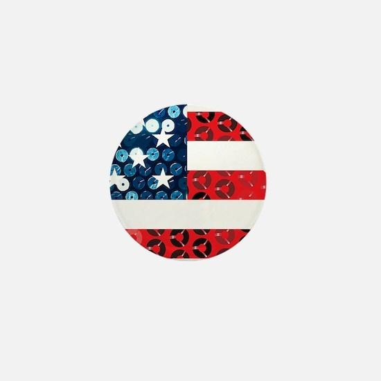 usa flag heart Mini Button