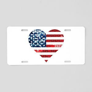 usa flag heart Aluminum License Plate