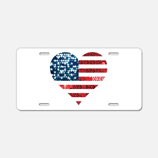 usa flag heart Aluminum License Plate
