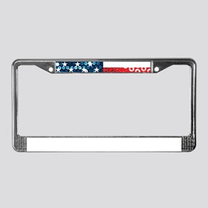 usa flag heart License Plate Frame
