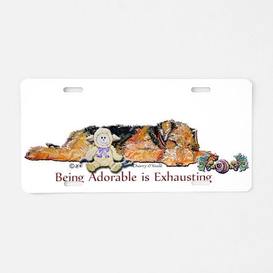 Sleepy Airedale Aluminum License Plate