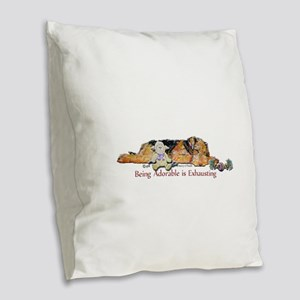 Sleepy Airedale Burlap Throw Pillow