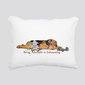 Sleepy Airedale Rectangular Canvas Pillow