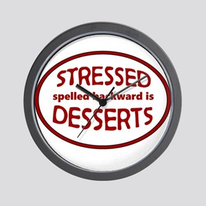 Stressed is Desserts logo -red Wall Clock