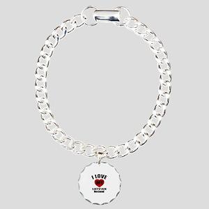 I Love My Latvian Husban Charm Bracelet, One Charm
