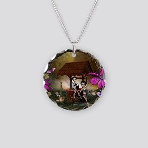 Cute playing fairy on the fountain Necklace