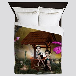 Cute playing fairy on the fountain Queen Duvet