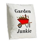 Garden Junkie Burlap Throw Pillow