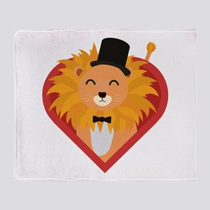 Lion with Hat in heart Throw Blanket