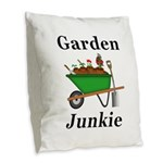 Garden Junkie Burlap Throw Pillow