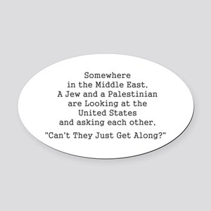 Jew and Palestinian - Black Oval Car Magnet