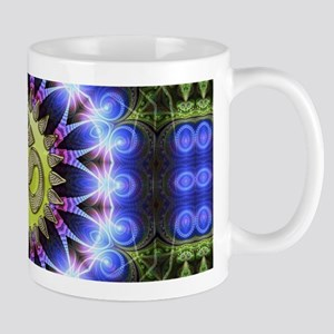 Om Symbol Blue Forest Energy Mandala Mugs
