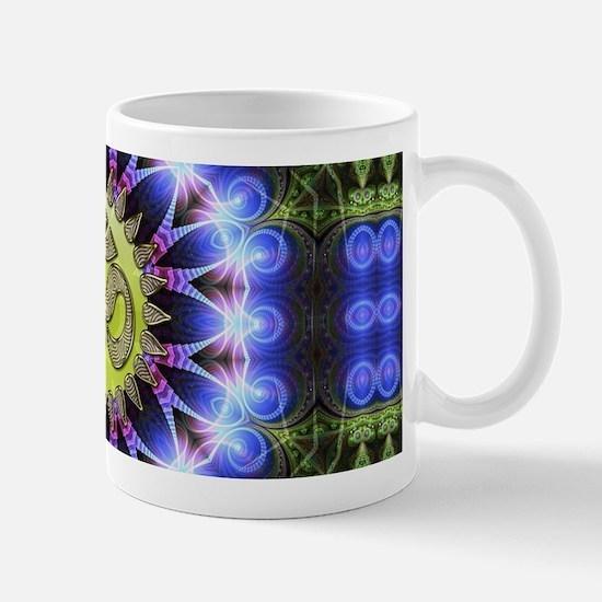 Om Symbol Blue Forest Energy Mandala Mugs