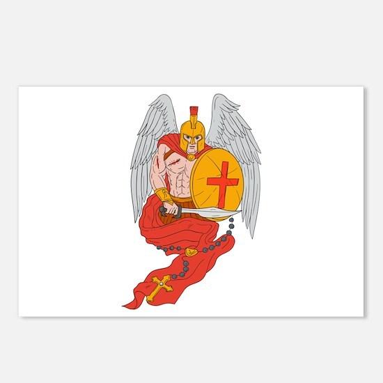 Spartan Warrior Angel Sword Rosary Drawing Postcar