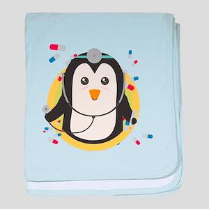 Penguin doctor in circle baby blanket