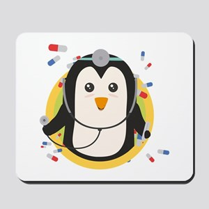 Penguin doctor in circle Mousepad
