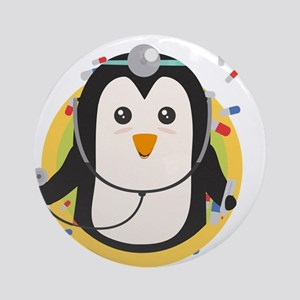 Penguin doctor in circle Round Ornament