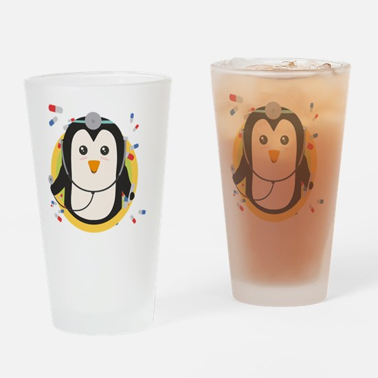Penguin doctor in circle Drinking Glass