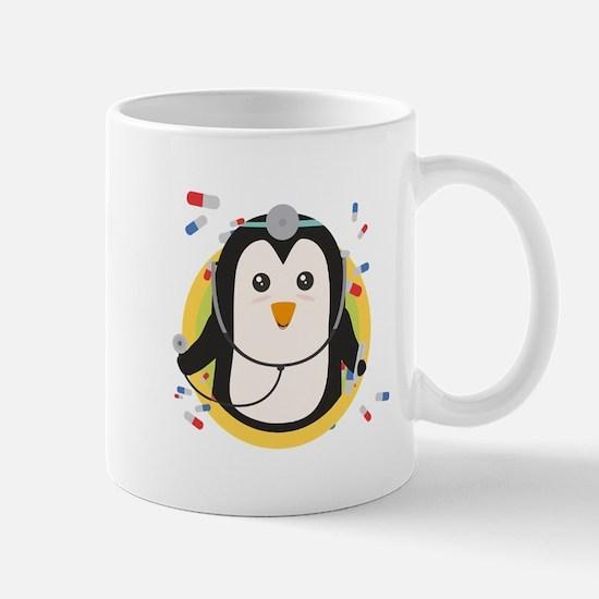 Penguin doctor in circle Mugs
