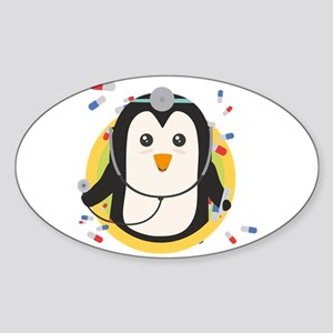 Penguin doctor in circle Sticker
