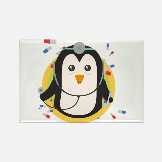 Penguin doctor in circle Magnets
