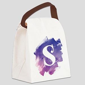 MONOGRAM Purple Brushstroke Canvas Lunch Bag