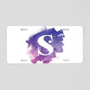 MONOGRAM Purple Brushstroke Aluminum License Plate