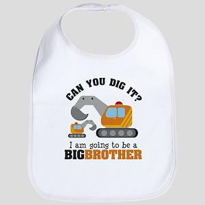 Excavator Big Brother to be Baby Bib