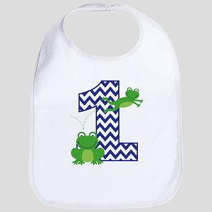 Frog 1st Birthday Baby Bib