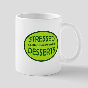 Stressed is Desserts logo -green Mugs