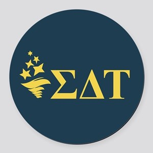 Sigma Delta Tau Greek Letters Round Car Magnet