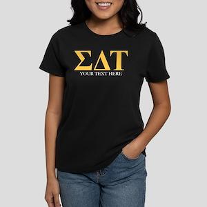 Sigma Delta Tau Greek Letters Women's Dark T-Shirt