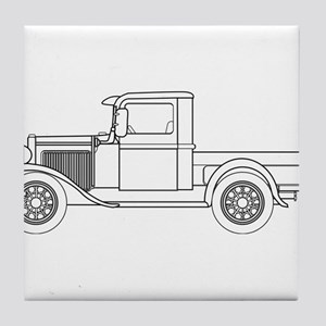 Early Pickup Truck Outline Tile Coaster