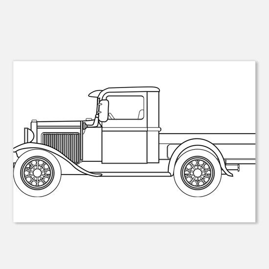 Early Pickup Truck Outlin Postcards (Package of 8)