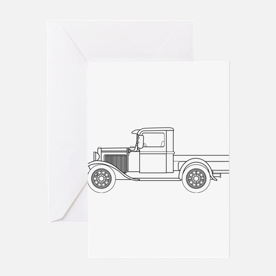 Early Pickup Truck Outline Greeting Cards