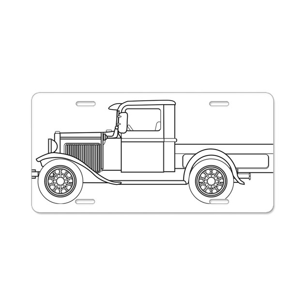 Early Pickup Truck Outline Aluminum License Plate by ADMIN
