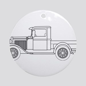 Early Pickup Truck Outline Round Ornament