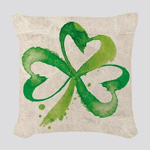 Shamrock Brushstrokes Woven Throw Pillow