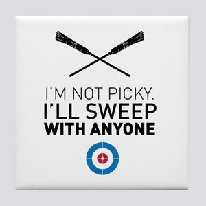 I'll sweep with anyone Tile Coaster