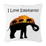 I Love Elephants Woven Throw Pillow