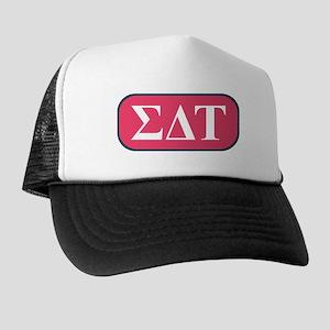 Sigma Delta Tau Greek Letters Pink Trucker Hat
