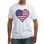American Flag Heart Fitted T-Shirt