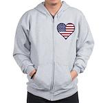 American Flag Heart Zip Hoodie