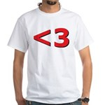 Less than 3 White T-Shirt