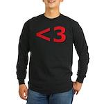 Less than 3 Long Sleeve Dark T-Shirt