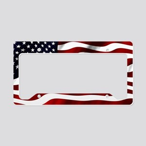 Waving American Flag License Plate Holder